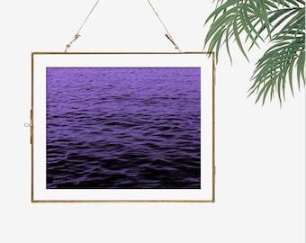 Minimalist art print fine art photography water nature art lake photograph print dark purple wall art living room decor home decor wall art