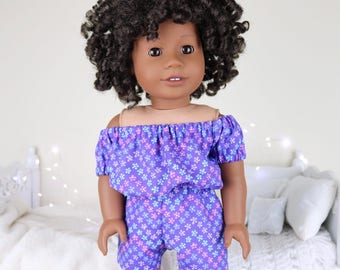 18 inch doll purple floral romper | violet | color of the year
