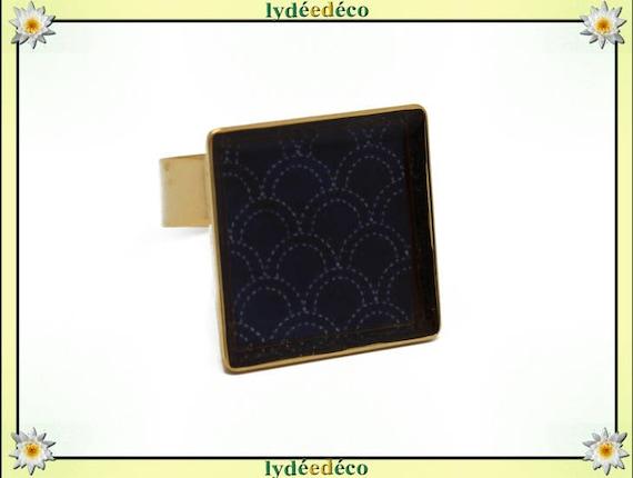 Seigaiha motif square gold plated brass ring 24 carat 24 K waves Japanese resin Sea Blue night adjustable 17mm