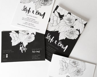 Hand drawn ANEMONE Wedding/RSVP Invitation