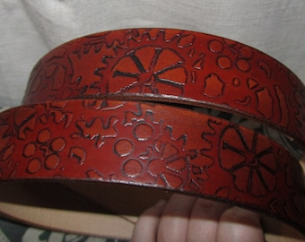 Customizable 1 1/2 inch, Steampunk Antique Gear Design Leather Work or Casual Belt