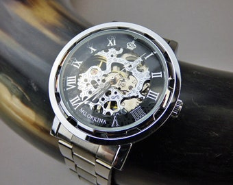 Classy Steampunk Mechanical Wrist Watch, Stainless Steel Wristband, Silver & Black Men's Watch, Personalized Watch - Item MWA501ok