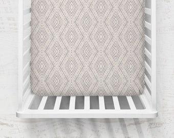 Modern Boho Crib Sheet, Organic Fitted Crib Sheet, Baby Bedding, Modern Crib Bedding, Minky Crib Sheets, Gender Neutral Crib Sheet, Grey