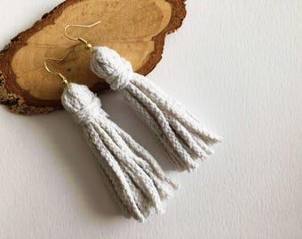 Chunky White Rope Tassel Earrings