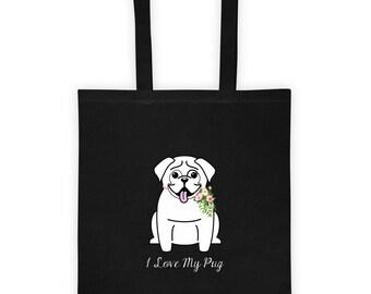 Flower Collar Pug Tote bag - Pug Love | Dog Themed Gifts | Pug Gift | Love My Pug