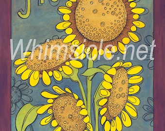 "Sunflower Art Print inspired by fortune cookies ""Gift"" matted"