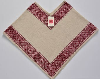 100% Wool Poncho Red