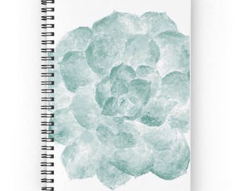 Succulent Notebook, spiral notebook, cactus journal, succulent journal, cactus notebook, green journal, teal notebook, white notebook