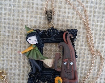 Witch necklace polymer clay craft doll handmade