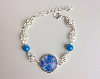 Chain bracelet silver blue butterfly orchid blue cabochon flower beads
