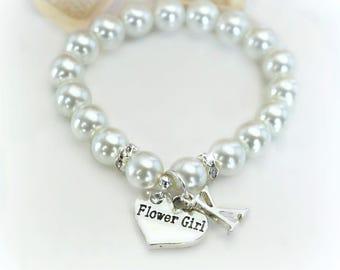 Pearl Personalized Flower Girl Bracelet