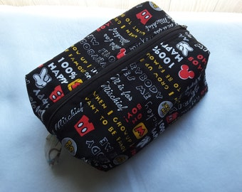 Mickey Mouse zippered pouch, Cosmetic Bag, Toiletry bag, zippered box