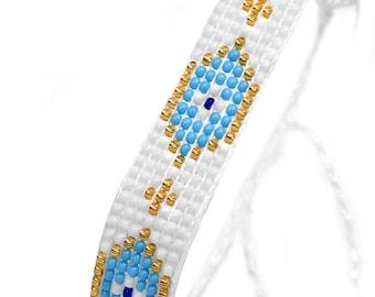 Peyote Bracelet with Evil Eyes - Handmade Sead Bead Bracelet - Evil Eye Woven Bracelet
