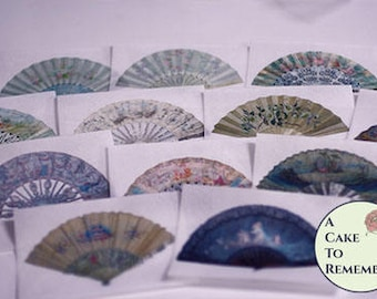 12 fancy fans wafer paper cookie images, vintage fan edible wafer paper prints for cookie decorating. Printed wafer paper