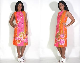 Vintage 60s Abstract Floral Hawaiian Print Pink Orange Watercolor Shift Midi Dress Hippie Glam