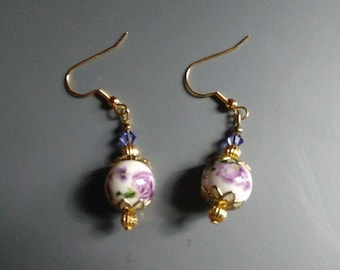 Victorian Lavender Floral Drop Earrings