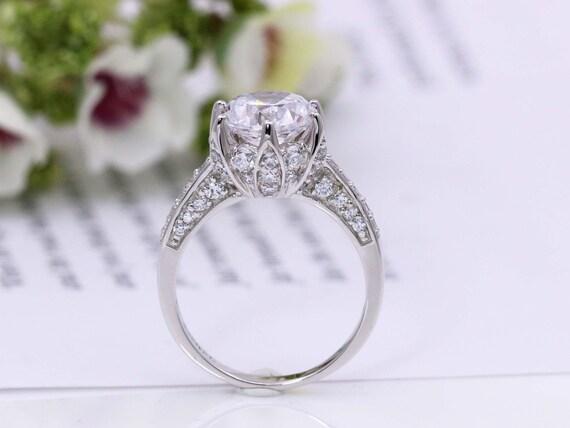 Lotus Engagement Ring Flower Wedding Ring Rose Ring