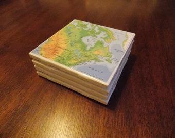 World Map Coasters- Set of Four
