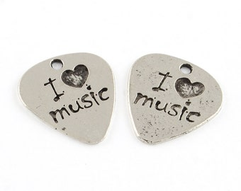 I Love Music Antique Silver Bracelet Charm 10 Pieces  Base Metal 22x24mm for Musican Jewellery or Guitar Pick Charm