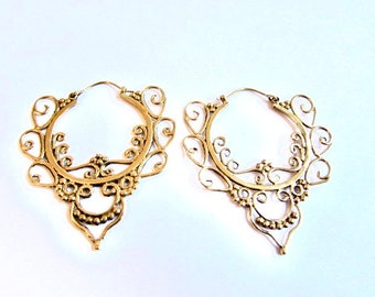 Large Flat Hoop Earrings with curved clasp handmade, Floral design, Brass Earrings , Festival Jewelry, Gift boxed, Free UK post BG4