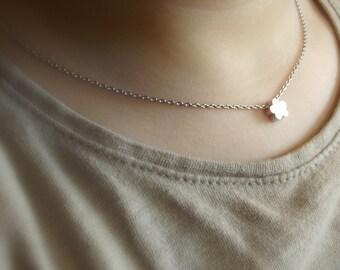Children's silver flower necklace, flower girl necklace, flower girl gift, flower girl jewelry, girls jewelry, girls necklace, kids jewelry