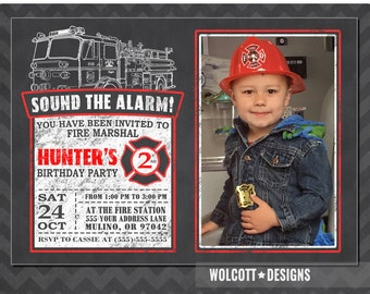 Fire truck birthday invitation, fireman birthday boy invite, Firefighter invitations printable, Fire Truck photo Invites, firetruck invites
