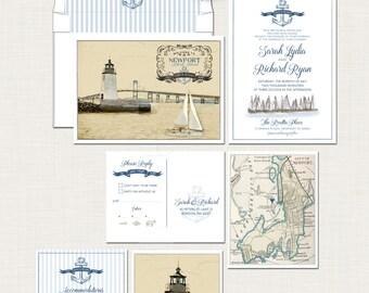 Destination wedding invitation Nautical illustrated wedding invitation Newport Beach Rhode Island coastal wedding lighthouse Deposit Payment