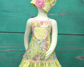 Kids Apron, Girls Ruffle Apron, Child's Chef Set, Childrens Aprons, Little Girls Apron, Toddler Apron, Shabby Chic Apron, Tea Party Apron