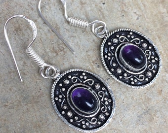 Earrings vintage silver and Amethyst • earrings vintage earrings • old • Vintage earrings