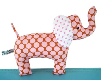 Baby Cloth Elephant Toy with Rattle - Spotty Pink and Brown - Baby - Toddler -  Child Friendly - Unisex New Baby Gift