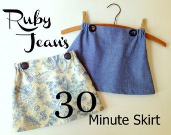 Ruby Jean's 30 Minute Skirt - Girl's  Skirt Pattern PDF. Girl Sewing Pattern. PDF Pattern. Toddler Pattern. Sizes 1-10