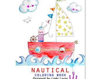 Nautical Coloring Book Printable PDF - 10 Pages of Adorable Sea & Ocean Life Colouring Fun - Under the Sea Coloring Book Download