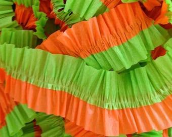 Green and Orange Ruffled Crepe Paper Streamers - 36 Feet - Party Decoration - Craft and Party Supplies