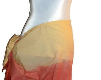 Hand Dyed Multi Colored Swimsuit Scarf Red, Orange and Yellow Short Pareo