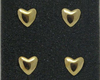 Set nails pins for clothing heart gold 10 mm