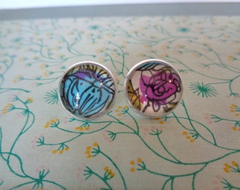 Vintage Wrapping Paper Earrings - Wild Floral