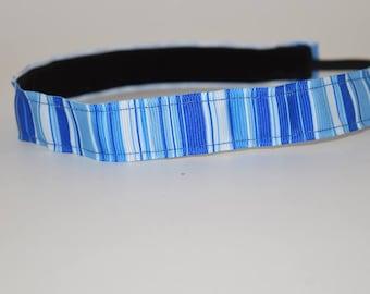 SALE- 33% REDUCED Blue Stripe Headband- Blue- Stripe Headband-7/8 Headband-  nonslip headband- no slip headband