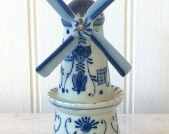 Vintage Porcelain Delft Blue Windmill Figurine, Occupied Japan, Rare Collectable, Holland, Blue & White, Cottage, French Country