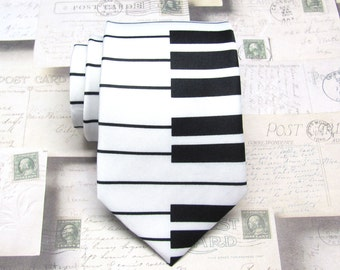 Mens Ties Black and White Piano Keyboard Neckties