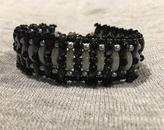 Black & Gray Picasso Beaded Cuff Bracelet