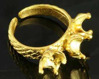 adjustable brass ring 1 pc Gold plated 20 mm with 6 - 6 -6 mm base setting 489