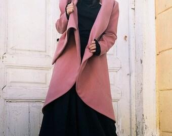 SALE Ashes of Roses Cashmere Coat / Asymmetrical Long Jacket / Zipper Winter Coat / Maxi Collar Warm Coat by METAMORPHOZA