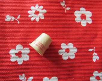white on red floral print vintage cotton fabric pieces