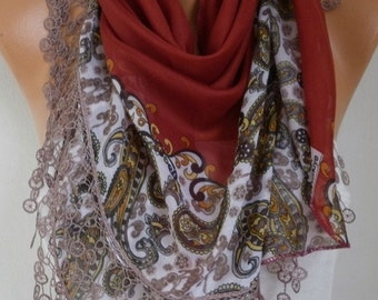Burnt Orange Paisley Cotton Scarf Teacher Gift Necklace Cowl Scarf Gift Ideas for Her  Women Fashion Accessories