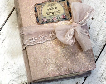 Whimsical wedding etsy fairytale wedding guest book blush pink wedding scrapbook whimsical wedding photo album shabby vintage guestbook 8x6 inch made to order junglespirit Choice Image