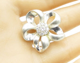 925 sterling silver - ribbon white sapphire accents floral pendant - p1010