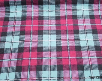Flannel Fabric - Hot Pink and Aqua Plaid - By the yard - 100% Cotton Flannel