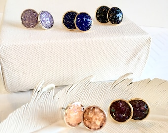 Faux Druzy Studs, Sparkly Stud Earrings, Faux Druzy Earrings, Emerald Green Studs, Purple Studs, Coral Studs, Peach Studs, Royal Blue Studs