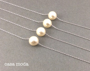 everyday necklace, bridal necklace, wedding, bridesmaids gifts, cream pearl, best friend, girlfriends, everyday necklace, pearl pendant