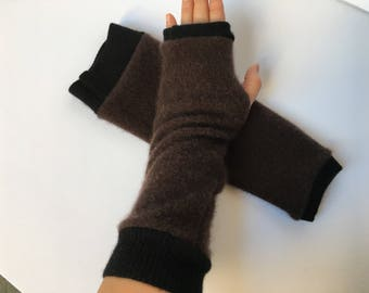 "Thick Cashmere Fingerless Gloves for men - Texting Mitts S / M - Brown - 13"" Armwarmers recycled - cozy warm"